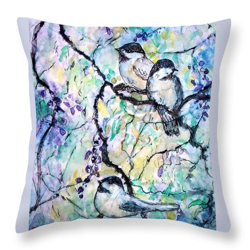 Birds Throw Pillow featuring the painting Chickadees by Norma Boeckler