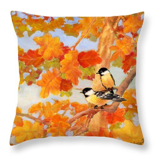 Chickadees Throw Pillow featuring the painting Chickadees With Oak Leaves by Eileen Fong