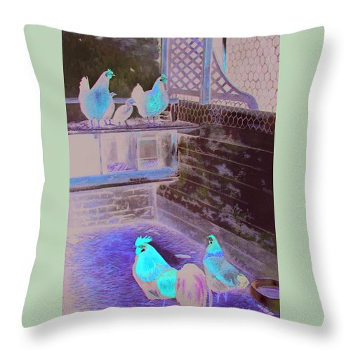 Far Throw Pillow featuring the painting Chicken Coop by Ferrel Cordle