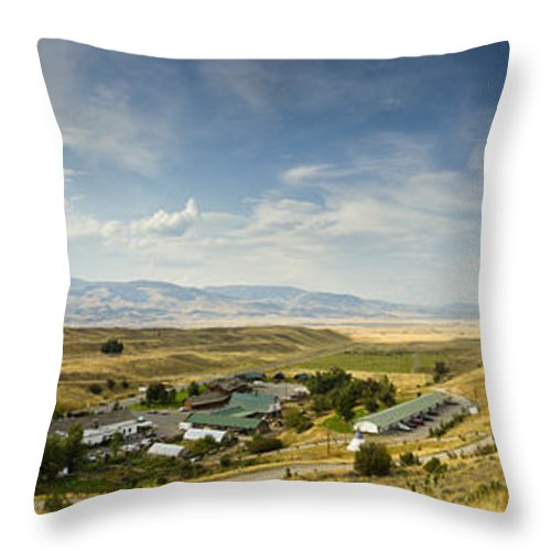 Chico Hot Springs Throw Pillow featuring the photograph Chico Hot Springs Pray Montana Panoramic by Dustin K Ryan