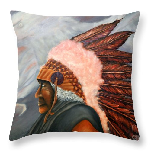 Native American Throw Pillow featuring the painting Chief Eagle Cloud by Barney Napolske
