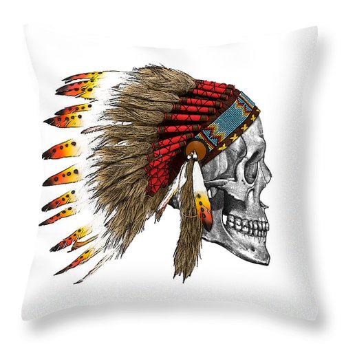 Indian Throw Pillow featuring the digital art Chief headdress on human skull native american art by Madame Memento