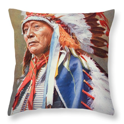 Chief Throw Pillow featuring the painting Chief Hollow Horn Bear by American School
