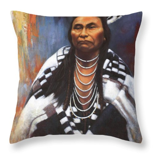 Native American Throw Pillow featuring the painting Chief Joseph by Harvie Brown