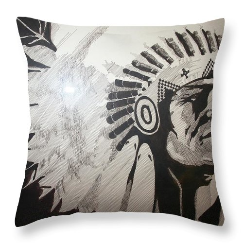 Chief Throw Pillow featuring the drawing Chief by Melissa Wiater Chaney
