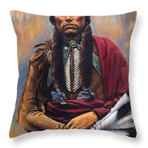 Indian Chief Throw Pillow featuring the painting Chief Quanah by Harvie Brown