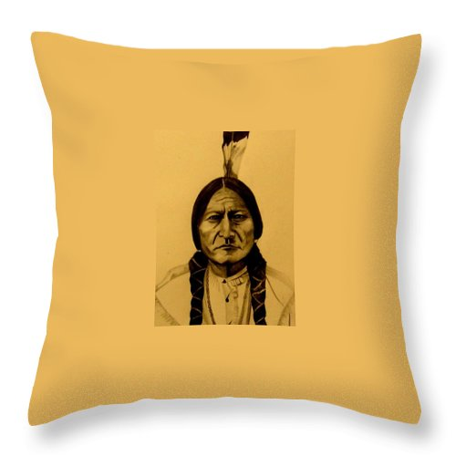 Portrait Throw Pillow featuring the drawing Chief Sitting Bull Tatanka Iyotake by Michelle Dallocchio