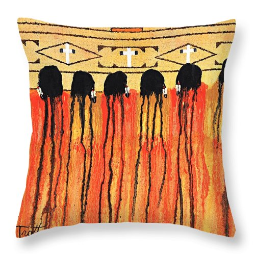 Indians Throw Pillow featuring the painting Chiefs Blanket by Patrick Trotter