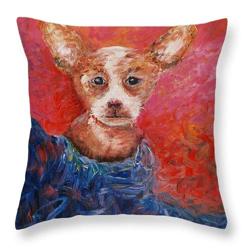 Dog Throw Pillow featuring the painting Chihuahua Blues by Nadine Rippelmeyer
