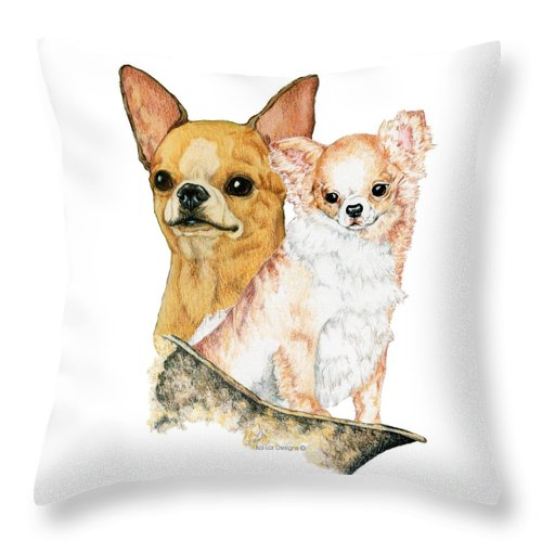 Chihuahua Throw Pillow featuring the drawing Chihuahuas by Kathleen Sepulveda