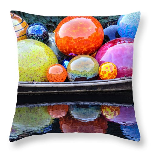 Art Throw Pillow featuring the photograph Chihuly Exhibit At The Denver Botanic Gardens by Becky Canterbury