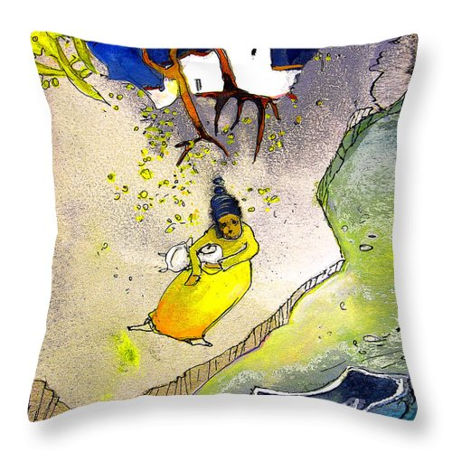 Child Throw Pillow featuring the painting Child Abandon by Miki De Goodaboom