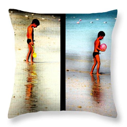 Beach Throw Pillow featuring the photograph Child At Play by Farah Faizal