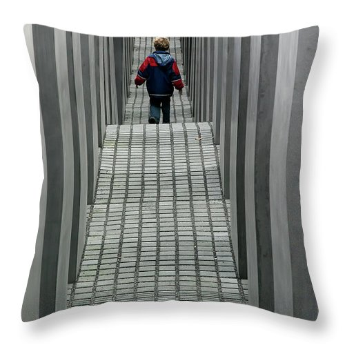 Berlin Throw Pillow featuring the photograph Child In Berlin by KG Thienemann