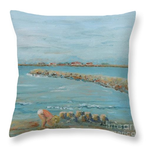 Beach Throw Pillow featuring the painting Child Playing at Provence Beach by Nadine Rippelmeyer