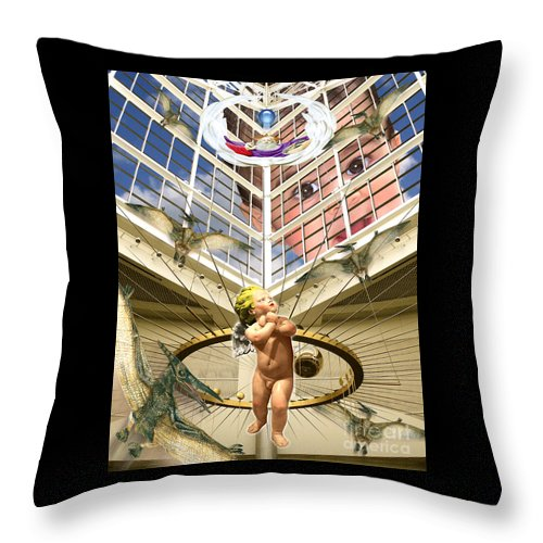 Digital Art Throw Pillow featuring the digital art Child Wonder by Keith Dillon