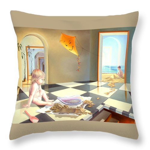 Art Oil Painting Surreal Child Childhood Freedom Throw Pillow featuring the painting Childhood by Gyuri Lohmuller