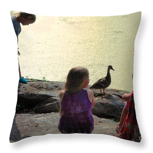 Children Throw Pillow featuring the photograph Children At The Pond 1 by Madeline Ellis