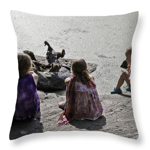 Children Throw Pillow featuring the photograph Children At The Pond 2 by Madeline Ellis