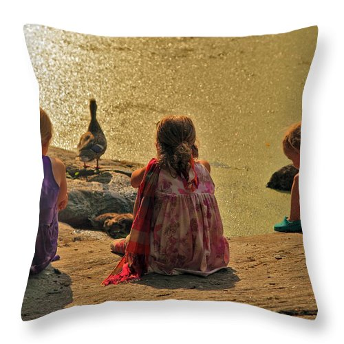 Children Throw Pillow featuring the photograph Children At The Pond 4 by Madeline Ellis