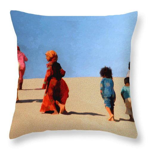 Children Throw Pillow featuring the photograph Children Of The Sinai by Kurt Van Wagner
