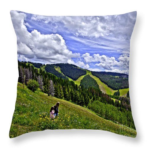 Child Throw Pillow featuring the photograph Children On Vail Mountain by Madeline Ellis
