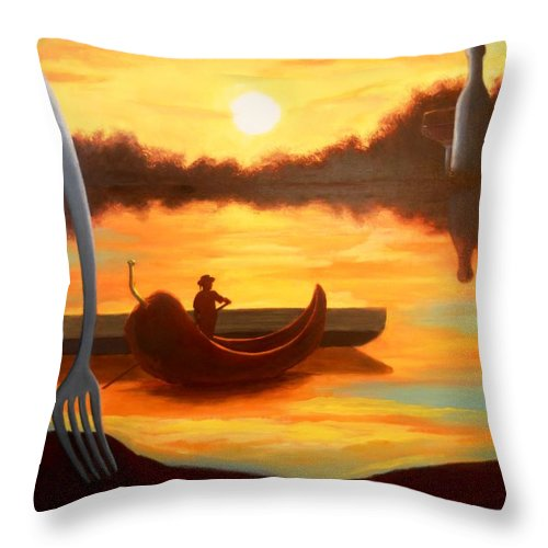 Sunset Throw Pillow featuring the painting Chile Gondola by Michael Townsand