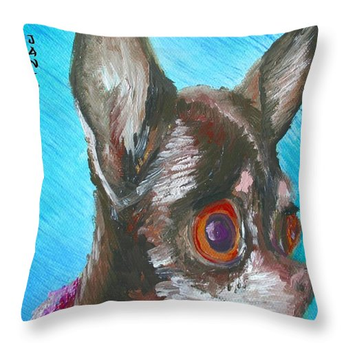 Dog Throw Pillow featuring the painting Chili Chihuahua by Minaz Jantz