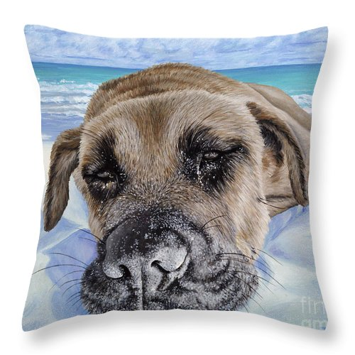 Pet Portrait Throw Pillow featuring the painting Chillin In Briland by Danielle Perry