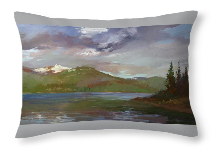 Murals Throw Pillow featuring the painting Chimney Rock at Priest Lake Plein Air by Betty Jean Billups