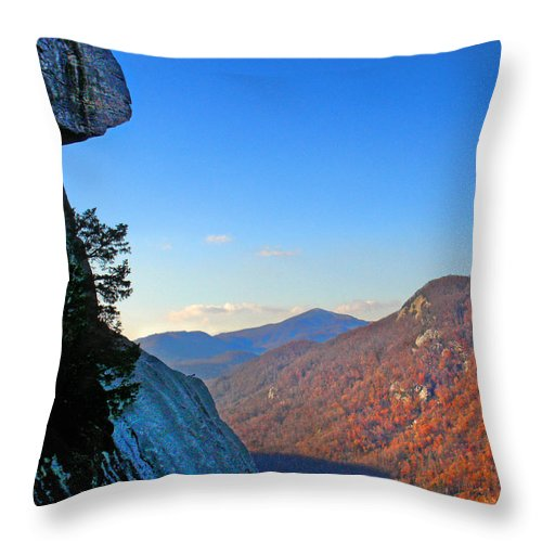 Landscape Throw Pillow featuring the photograph Chimney Rock 2 by Steve Karol