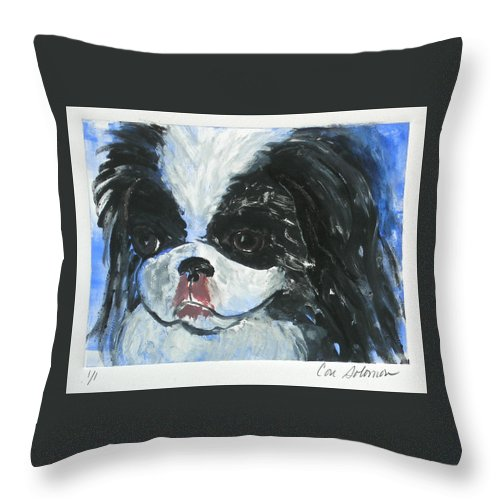 Monotype Throw Pillow featuring the mixed media Chin-wow by Cori Solomon