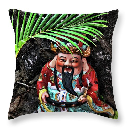 Gnome Throw Pillow featuring the digital art China Boat Gnome by Joan Minchak
