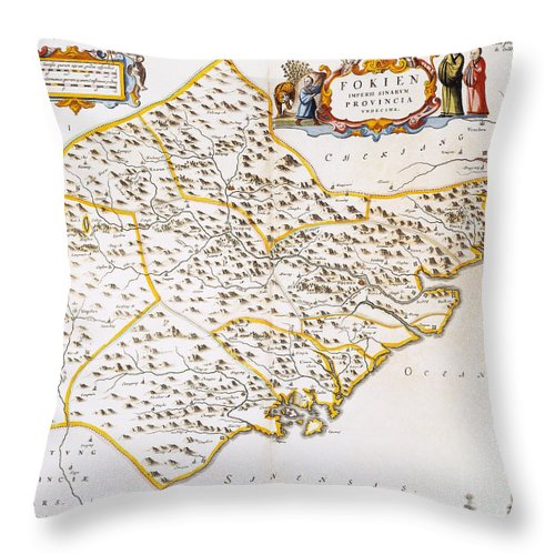 1662 Throw Pillow featuring the photograph China: Fujian Map, 1662 by Granger