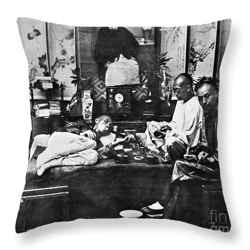 1880 Throw Pillow featuring the photograph China: Opium Smokers by Granger