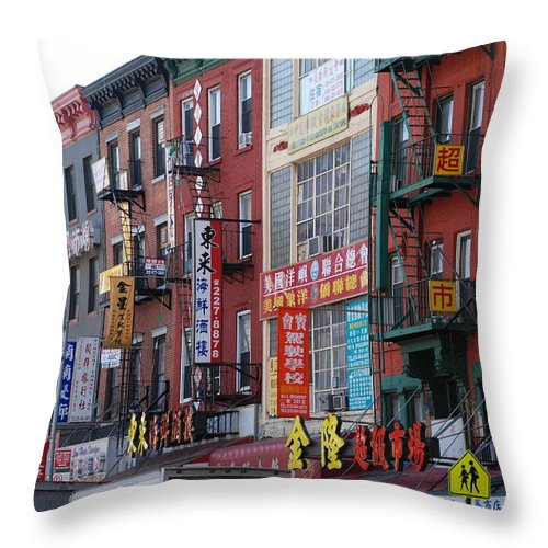 Architecture Throw Pillow featuring the photograph China Town Buildings by Rob Hans