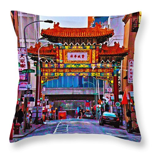 Chinatown Arch Philadelphia Throw Pillow featuring the photograph Chinatown Arch Philadelphia by Bill Cannon