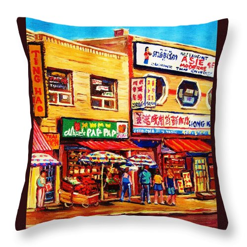 Montreal Throw Pillow featuring the painting Chinatown Markets by Carole Spandau
