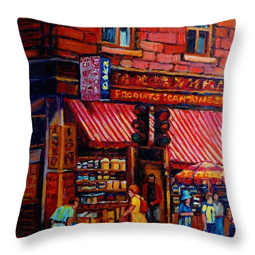 Chinatown Throw Pillow featuring the painting Chinatown Montreal by Carole Spandau