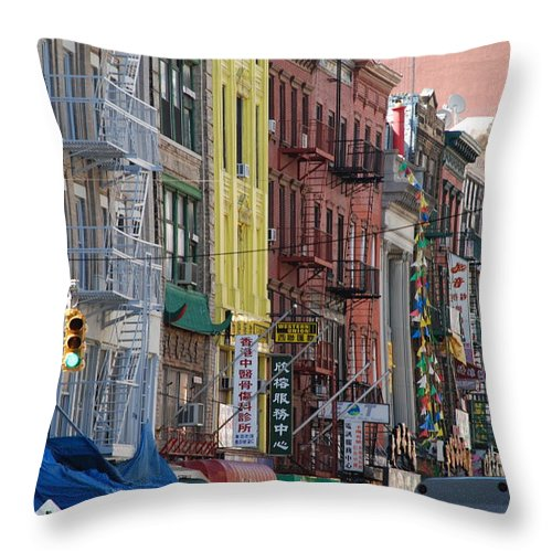 Architecture Throw Pillow featuring the photograph Chinatown Walk Ups by Rob Hans