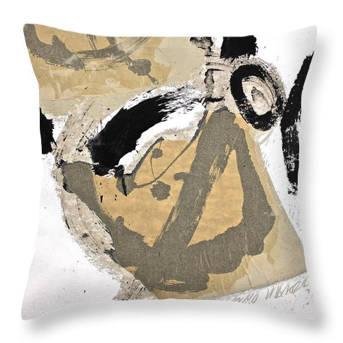 Abstract Paintings Throw Pillow featuring the painting Chine Colle by Cliff Spohn