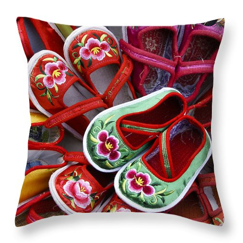 Asia Throw Pillow featuring the photograph Chinese Baby Shoes by Michele Burgess
