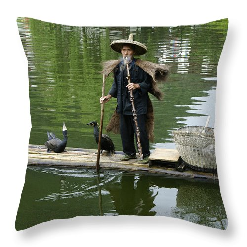 Asia Throw Pillow featuring the photograph Chinese Cormorant Fisherman by Michele Burgess