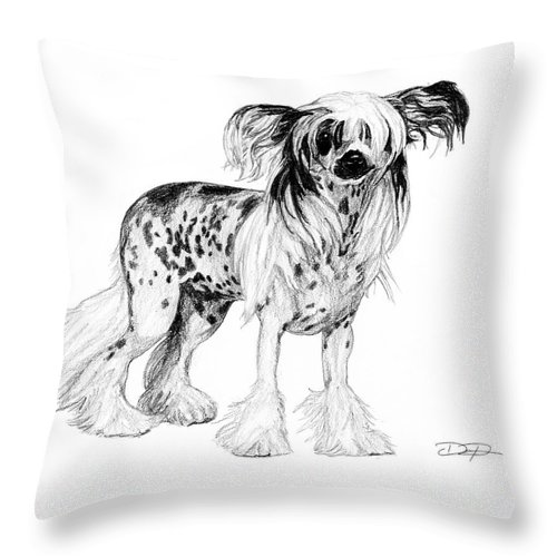 Chinese Crested Throw Pillow featuring the drawing Chinese Crested Dog by Dan Pearce