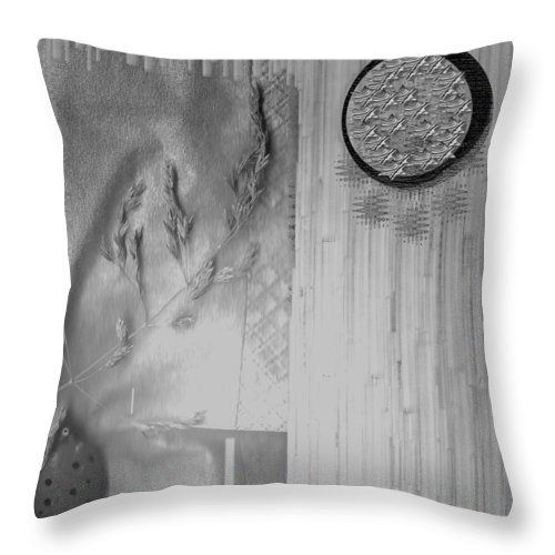 Straw Throw Pillow featuring the mixed media Chinese Garden by Pepita Selles