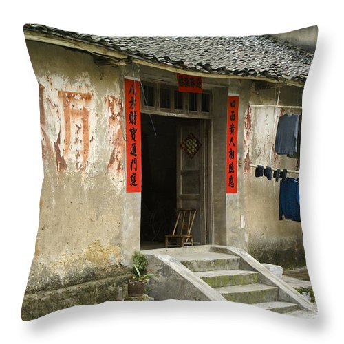 Asia Throw Pillow featuring the photograph Chinese Laundry by Michele Burgess