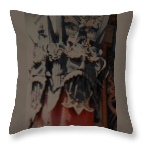 Grumanns Chinese Theater Throw Pillow featuring the photograph Chinese Masks by Rob Hans