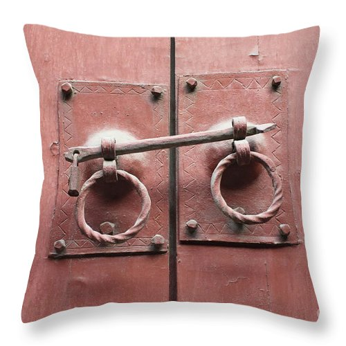 Door Throw Pillow featuring the photograph Chinese Red Door With Lock by Carol Groenen