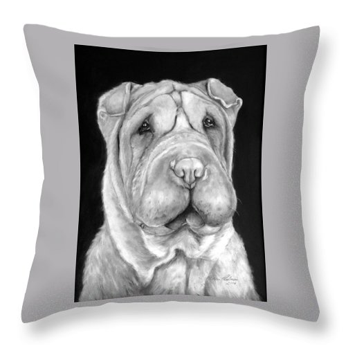 Sharpei Throw Pillow featuring the painting Chinese Sharpei by Portraits By NC