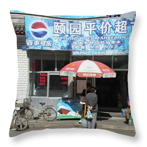 China Throw Pillow featuring the photograph Chinese Storefront by Thomas Marchessault